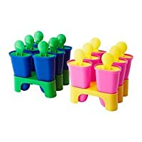 Ikea ICE Popsicle Maker Molds Set of 12 - (6) Blue/green, (6) Yellow/pink