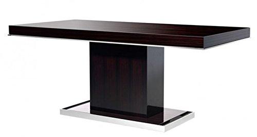 Casa Padrino Designer Luxus Esstisch Braun Hochglanz/Chrom - Esszimmer Tisch - Konferenztisch