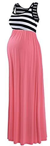 Neonysweets Women's Pregnancy Maternity Contrast Maxi Tank Dress Comfortable Navy Stripe Coral L