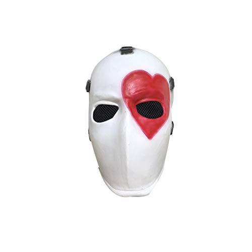 ZIJUAN Erwachsene Latexmaske Rotes Herz Poker Maske Karneval Weihnachten Halloween Neujahr Ostern Thema Party Kopfmaske Kopfbedeckung Rollenspiel Maske Leistung Dekoration Requisiten