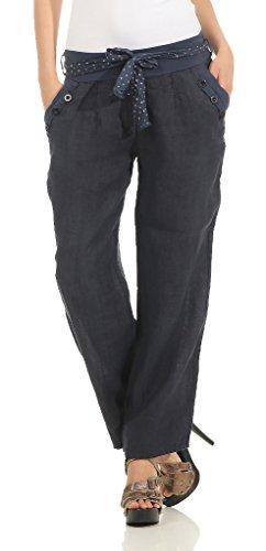 Mississhop, hergestellt in EU 269 Damen Leinenhose lockere Freizeithose lange 100% Leinen Hose Uni Stoffhose elegante Haremshose mit Knöpfen Tunnelzug und Stoffgürtel einfarbig Dunkelblau M