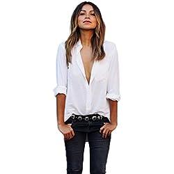 SHOBDW Mujeres V Cuello Blusa Pura Atractiva Grandes Suaves OL Ladies Sueltas Camisas de Bolsillo Tallas Tops Camisa de Manga Larga(Blanco,L)