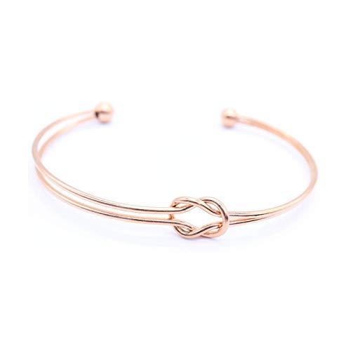 Minimalistisches & Elegantes Armband für Frauen Damen Mädchen Offener Armreif aus hochwertigem Chirurgenstahl vergoldet mit 18 K Rosé-Gold - Gold Armband Armreif Rose