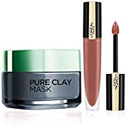L'Oreal Paris Rouge Signature Matte Liquid Lipstick,116 I Explore, 7g And L'Oreal Paris Pure Clay Clay