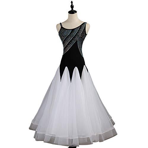 Modern Dance Weiß Kostüm - DSDBWQ Ärmellose Modern Dance Competition Kleider für Damen Gesellschaftstanz Kostüm Performance Dance Rock,Weiß,S