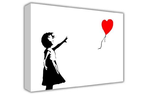 CANVAS IT UP Banksy Wall Art Bilder auf Leinwand Graffiti Rot Heart Balloon Girl There is Always Hope Fotos Dekoration Print Decor zum Aufhängen Bilder - Dekoration Foto-print