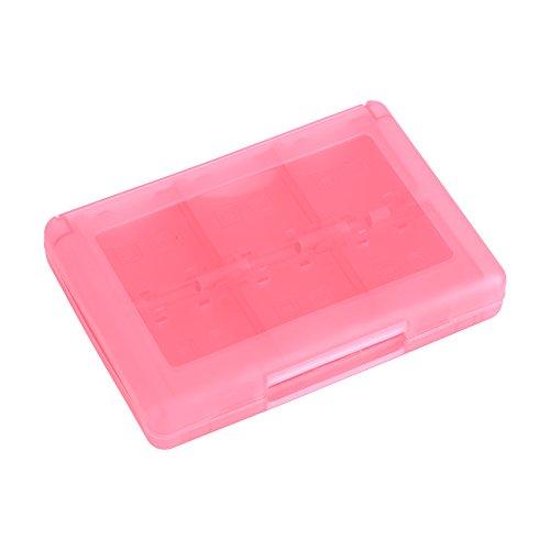 28 in 1 Spiele Fall Kunststoff Anti Schock Halter Speicher Micro SD Speicherkarte Tragetasche für Nintendo 3DS DSL DSI LL Aufbewahrungsbox(Rosa)