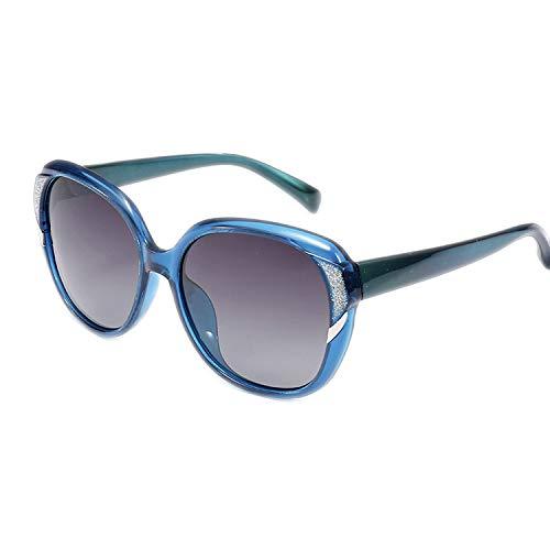 NauyGnol Polarisierte Luxus-Sonnenbrille, übergroß, quadratisch, Retro, randlose Sonnenbrille, weiblich Gr. Einheitsgröße, blau
