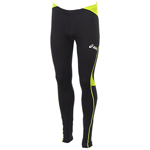 Pantaloni Lunghi Unisex Atletica Running ASICS ASAFA nero verde lime T241Z6