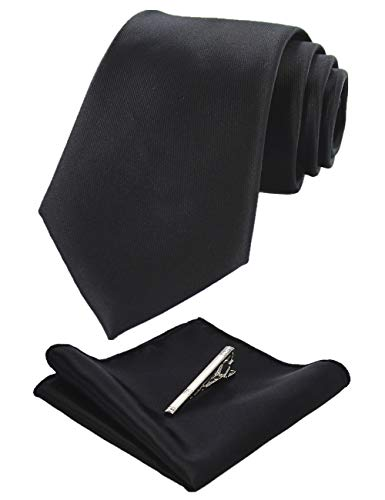 JEMYGINS Klassisch Formal Elegant Herren Seidenkrawatten Set-Krawatte & Einstecktuch &krawattenklammer, Schwarz, M Formale Krawatte