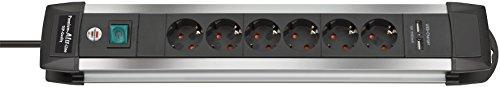 Brennenstuhl Premium-Alu-Line, Steckdosenleiste 6-Fach - Steckerleiste aus Hochwertigem Aluminium (mit 2-Fach USB, Schalter, 3m Kabel) Farbe: Schwarz