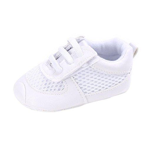 Tefamore Zapatos bebé de Laceración de la rejilla de la muchacha del Zapatillas antideslizantes suaves para niños pequeños (11, Blanco)
