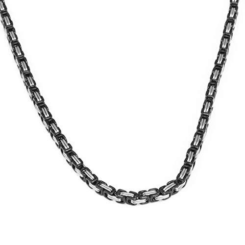 Gnzoe Schmuck Titan Stahl Herren Halskette Quadrat Form Anhänger Herrenkette Silber Schwarz
