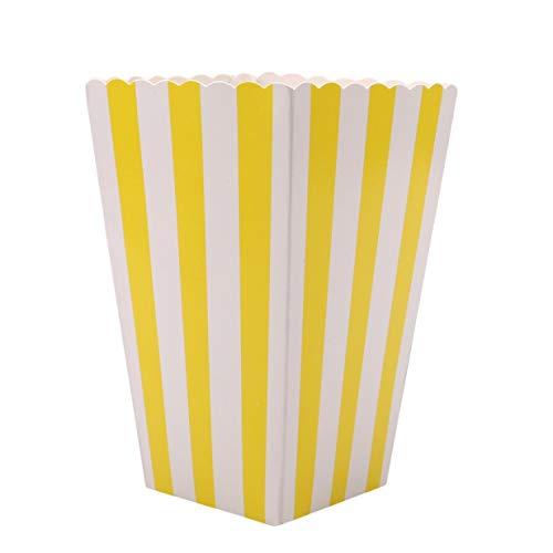 Vektenxi Premium 12pcs Popcorn Boxen Taschen Halter Kino Striped Popcorn Boxen Karton Süßigkeiten Container für Party Snacks, Süßigkeiten, Popcorn und Pralinen gelb