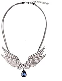 TBOP NECKLACE THE BEST OF PLANET Simple And Stylish Jewelry Sparkling Crystal Angel Wings Double Chain In Blue...