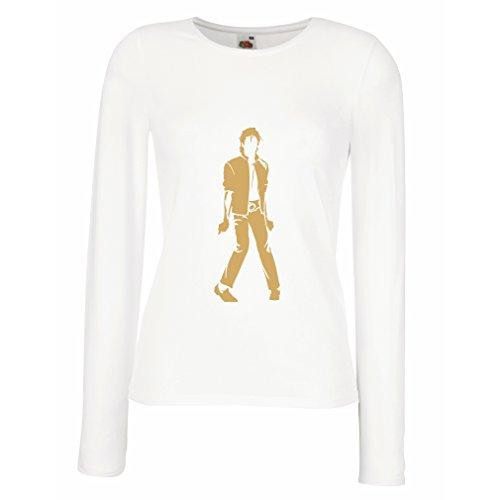 angen Ärmeln T-Shirt Ich Liebe M J - King of Pop, 80er Jahre, 90er Jahre Musical Shirt, Partykleidung (Large Weiß Gold) (80er Jahre Themen Kleidung)