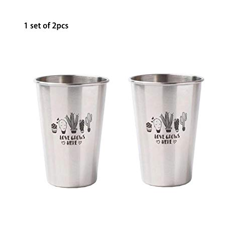Nicololfle Trinkbecher Anti Drop Nordischen Stil 304 Edelstahl Stapelbar Becher Metall Trinkbecher für Kinder Camping und Wandern (Recyclebare Trinkbecher)