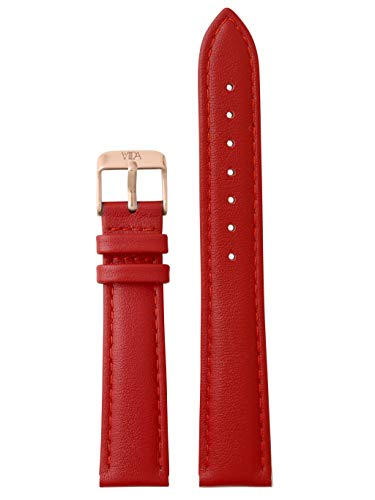 laVIIDA Uhrband LB-SVI2013R Ersatzband Uhrenarmband Leder 18 mm Rot-Rosé