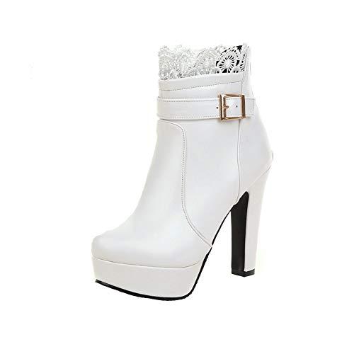 Y2Y Studio Bottines Lace Sexy Femmes à Talon Haut Bloc La Modeuse Bout Rond avec Boucle Chic Boots Femmes Hiver Winter Shoes