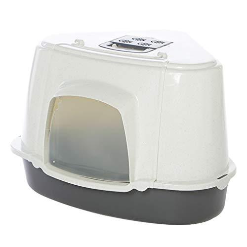 Jlxl Dreieck Katzentoilette, Groß mit Kapuze Beigefügt Haustier Kunststoff Wurf Box Durchscheinend Klapptür Abnehmbar Einfach Reinigen (Farbe : Schwarz) -