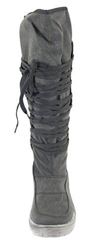 Winterstiefel Damenschuhe Farbe SCHWARZ zum Schnüren Schwarz