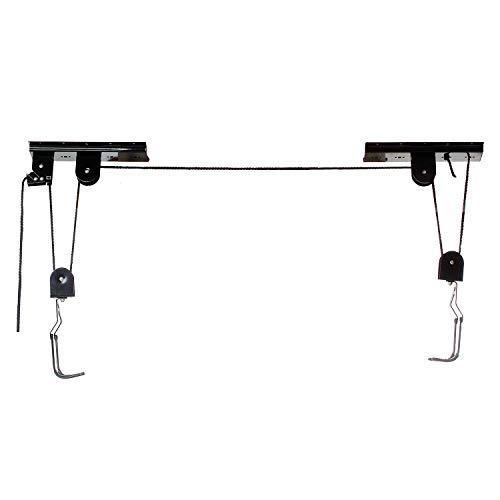 M-Wave 430099 - Portabici da soffitto con carrugola, Colore: Nero