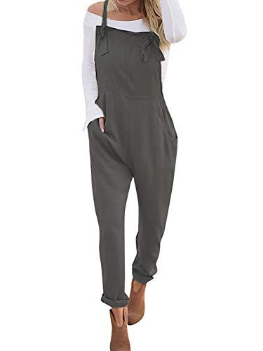 VONDA Damen Jumpsuits Latzhosen Baumwolle Playsuit Hose Overalls Elegant Lang Grau S