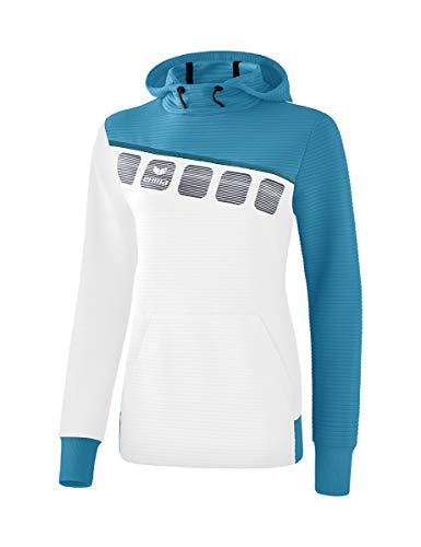 Erima Damen 5-C Kapuzensweat Hoodie, weiß/Oriental Colonial Blue, 36 Tennis-damen-sweatshirt