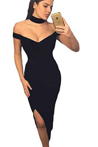 Neue Damen Schwarz Schulterfrei vorne Schlitz Figurbetont Kleid mit passendem Halsband Midi Kleid Club Wear Abend Party Kleid Größe S UK 8–10EU 36–38