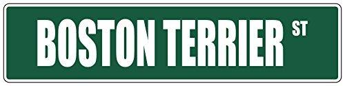 Monsety Metall Türschild Boston Terrier grün Hund Straßenschild Dekoration Garten Deko UV geschützt & Wasserdicht