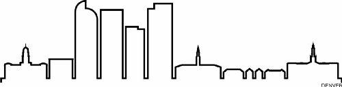 INDIGOS UG - Wandtattoo Wandsticker Wandaufkleber Aufkleber - Wandaufkleber f1295 Skyline Stadt - Denver (USA - United States) Design 4-180x46 cm - schwarz - Dekoration Küche Bad Büro Hotel