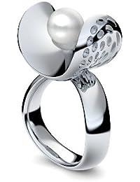 Golfschmuck Golf Schmuck Silber Ring Akoya Perle weiß 925 + inkl. Luxusetui + Akoya Perle weiß Ring Silber Perlenring Silber (Silber 925) - Pearl Symbiosis Amoonic AM253 SS925PWPE