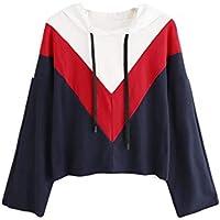 Damen Sweatshirt,Geili Frauen Damen Lose Langarm Colorblock Streifen Kapuzen-Shirt Hoodie Sweatshirt Pullover... preisvergleich bei billige-tabletten.eu