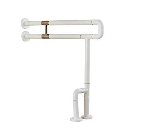 RANRANJJ Handicap Haltegriffe WC Haltegriff Sicherheit Flip Up U-Form Rahmen Duschstange auf Bad und Hotel zu Hause (Edelstahl beschichtet mit weißem Nylon)