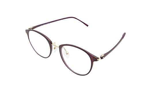 XYAS Mode TR90 Unisex Glas Brillenfassung Superleicht klare linse Wechselgläser Nerdbrille Brillenfassungen(Violett)