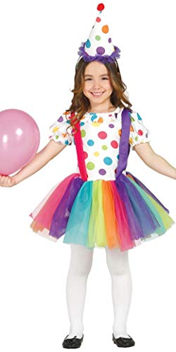 Kostüm Big Top Clown - Mädchen Big Top Clown Karneval Zirkus Halloween Geburtstag gepunktet Kostüm Kleid Outfit 3-9 Jahre - Multi, Multi, 5-6 Years