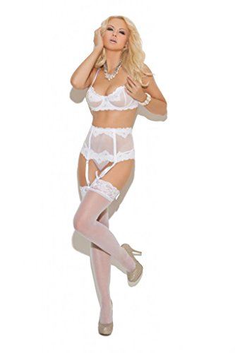 Elegant Moments – Weste – Damen, Embroidered Mesh Underwire Bra Waist Cincher And Matching G-string Included.,...