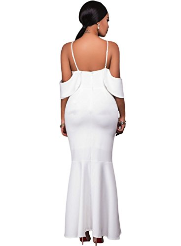 Azbro Ruffled Sleeves High-low Hem Party Maxi Dress white