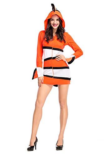 Jerho Frauen Clownfische Eltern Outfit Kostüm Halloween Cosplay Kostüm-Kinderkostüm Fisch orange Fasching Kostüm - Eltern Kostüm