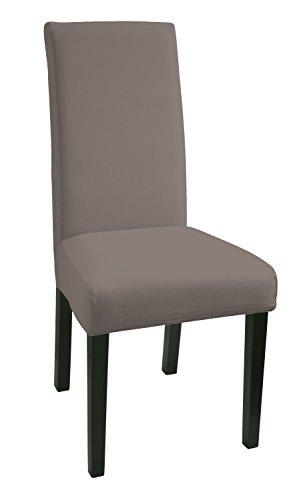 SCHEFFLER-HOME Mia Stuhlhussen 2 Stück, Stretch-Hussen Stuhl-Bezug bi-elastische Schutz-Husse, Dekor moderne Spann-Abdeckung mit Gummiband - Taupe
