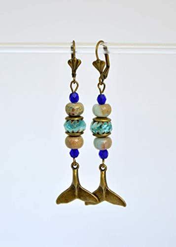 Orecchini lunghi coda di sirena e perline di vetro ceche, regali fatti a mano per le donne