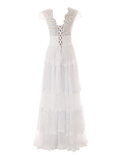 Dressystar Robe de soirée/Cérémonie/bal, à Col en V, à Gradins, Longueur Ras du sol, en Dentelle Menthe