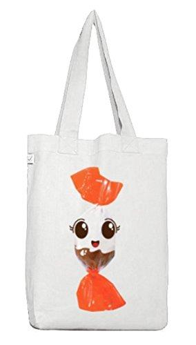 (ShirtStreet Jutebeutel Tragetasche süßes Schokolade BonBon Partner Kostüm für Fasching Karneval für Naschkatzen, Größe: onesize,White)