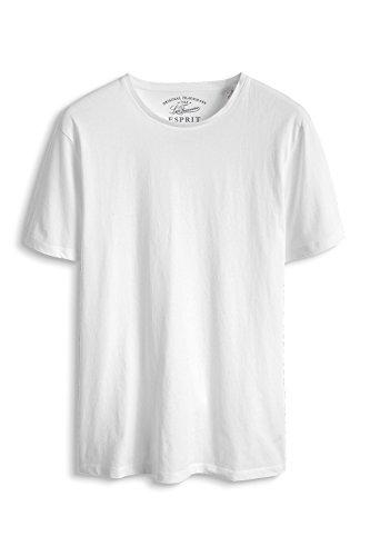 ESPRIT, Herren T-Shirt Basic - Slim Fit Weiß (White 100)