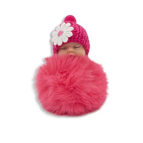 Roter Schlüsselanhänger schlafendes Baby mit Kunstfell Pom Pom Schlüsselanhänger, für Damen, Schlüsselanhänger, Geschenk, Flauschiger Taschen-Anhänger
