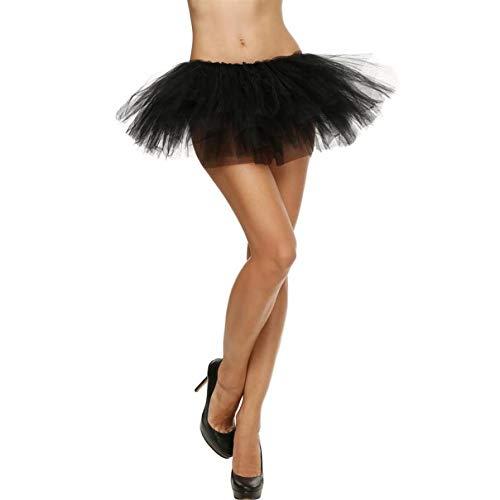 Damen Qualität Retro elastisch dehnbar Tüll Kleid Erwachsene Tutu 5 Schicht Rock Tanzen Tüllrock Blase Kurz Tanzkleid Ballkleid Abendkleid (Einheitsgröße, Schwarz) - Tiered Silk Kleid