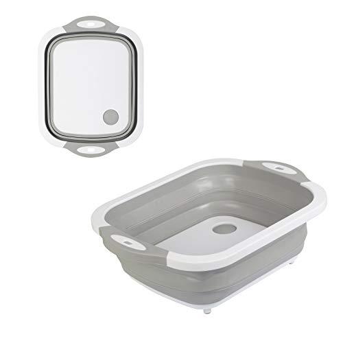 CHIFOOM Faltbar Spülschüssel Camping Korb Klappbar Schüssel Abwaschschüssel Kunststoff Silikon Spüle Spülbecken Geschirrabtropfer Abtropfkorb Abtropfsieb für Küche Wohnmobil Gemüse Obst Geschirr