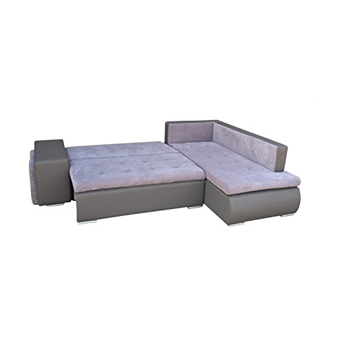 mb-moebel Ecksofa mit Zwei Hocker Sofa Eckcouch Couch mit Schlaffunktion und Bettkasten Ottomane L-Form Schlafsofa Bettsofa Polstergarnitur – Belgrad