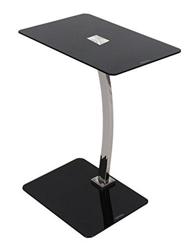 Tavolino in vetro per computer/laptop. Ripiano superiore in vetro temperato 8 mm. NERO.