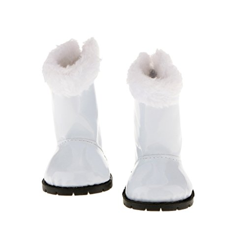 CUTICATE Flache White Furry Trim Stiefel Schuhe FÜR 18
